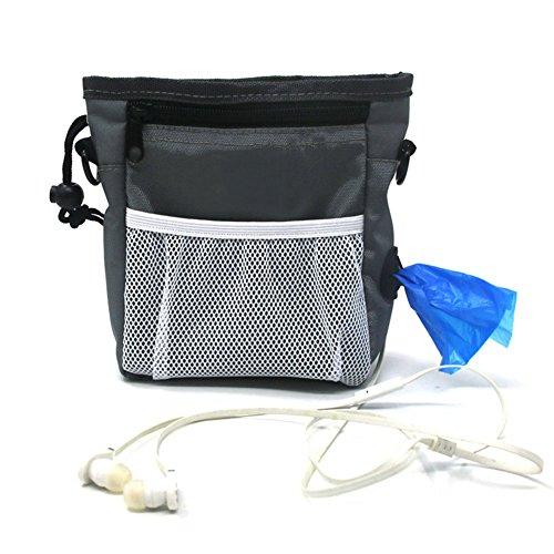 Longwu Nylon Professional Dog Treat Trainingsbeutel tragen multifunktionale Snacks Tasche für Haustiere Gürtel Grau