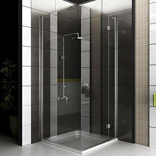 Duschkabine 80x80 mit Glasveredelung Eck Dusche mit Seiteneinstieg Teil gerahmte Duschkabine mit Drehtür Dusche