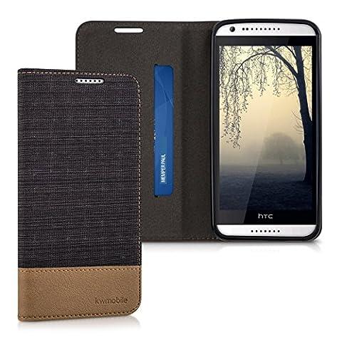 kwmobile Hülle für HTC Desire 620G - Bookstyle Case Handy Schutzhülle Textil mit Kunstleder - Klapphülle Cover Anthrazit Braun