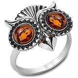 Bernstein Sterling Silber Eule Ring