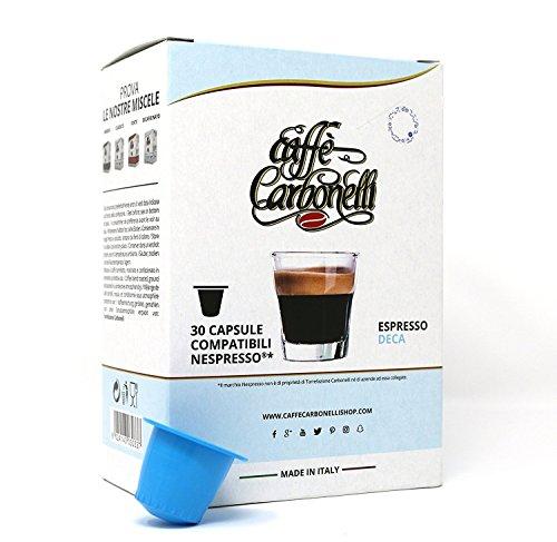 kaffekapseln Kompatible Nespresso. 120 kspseln Caffè Carbonelli Entkoffeiniert - Neapolitanischer Espressokaffee