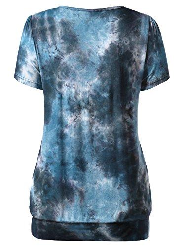 DJT Damen Casual Falten Kurzarm T-Shirt mit Stretch Rundkragen Blau-4