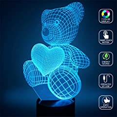 Idea Regalo - Amore cuore Orso 3D Illusion Lampada Led Night Light con 7 colori Lampeggiante e Touch Switch USB Powered Camera da letto Lampada da tavolo per i bambini Regali Decorazione della casa