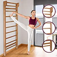 Physionics® Swedish Ladder Home Gym for kids and adults - ca. 80 x 195 x 14 cm - Gymnastic Wooden wall bars, Gymnastics Sporting Complex