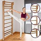 Physionics Sprossenwand aus Holz geeignet für Kinder und Erwachsene in der Größe 195 x 80 x 14 cm | Kletterwand, Turnwand, Klettergerüst, Kinderzimmer