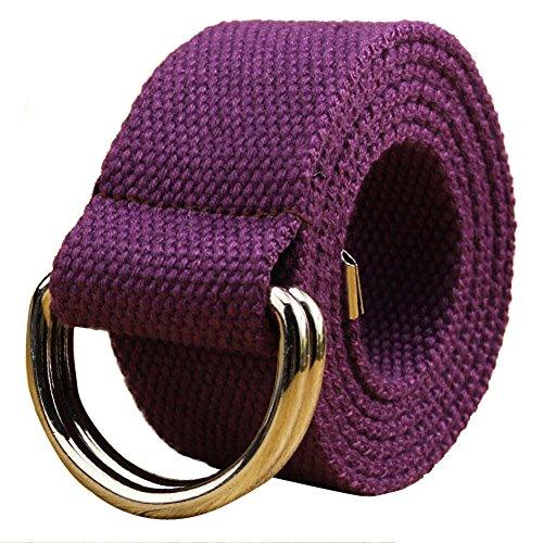 AYG Fashion Stoff Unisex Double Loop Schnalle Casual Long Weave Leinwand Gürtel Mit 38Farben Gr. Small, violett - Lila Herren Gürtel Schnalle