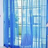 Fenster Vorhang Sheer, bunt, floral Tüll Voile Tür Vorhang Panels für Wohnzimmer, Voile Vorhang Panel (2, dunkelblau)