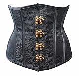 r-dessous Burlesque Unter Brust Corsage Taillen Schnür Korsett Mieder braun Bustier Top Gothic Steampunk (Herstellergroesse S (34-36), schwarz)