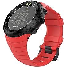 """MoKo Banda de Reloj para Suunto Core, Clásico Reemplazo Suave Puño/Pulsera con Cierre de Metal para Suunto Core Smart Watch, se Ajusta a la Muñeca de 5.51 """"-9.06"""" (140mm-230mm) , Rojo"""