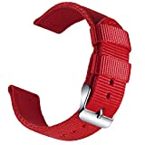 OLLREAR Nylon Uhrenarmband Leinwand Armbanduhr Militär Armee Uhrenband - 13 Colors & 4 Sizes - 18mm, 20mm, 22mm, 24mm (20mm, Red)