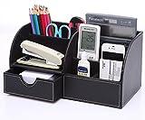 KINGFOM™ 7 Speicherabteil Multifunktionale Kunstleder Schreibtisch Organisator (schwarz)