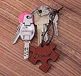 CHRISCK design Echtes Leder Schlüsselanhänger mit Namen oder deiner Wunsch-Gravur Puzzle Partner-Liebes-Geschenk Geschenkidee zum Valentinstag