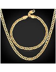 GYJUN Bijoux Colliers décoratifs Bracelet Set de Bijoux Mariage Soirée Quotidien Décontracté Sports Alliage Plaqué or 1set Hommes DoréCadeaux