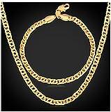 GYJUN Retro-Helix-Kette Armband 18 K echt vergoldet Mode Herren Gold Halskette Schmuck Set, Gold