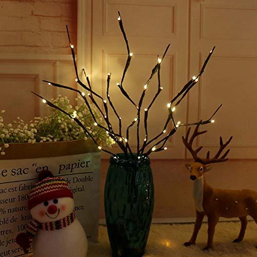 Lichterkette aus Weidenzweigen, warmweiß, beleuchtet, 60 LEDs, künstliche Weidenzweige, für Zuhause, Urlaub, Party, Dekoration, batteriebetrieben, 3 Stück -