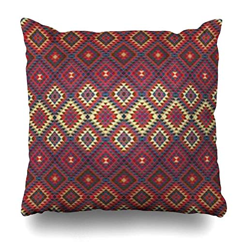 Zierkissenbezüge, Throw Pillow Covers, Ornate Red Persian Ethnic Folk Patterns Abstract Pattern Indian Belarus Retro Ancient Ukraine Pillowcase Square Size 18 x 18 Inches Home Decor Cushion Cases - West Elm-home Decor