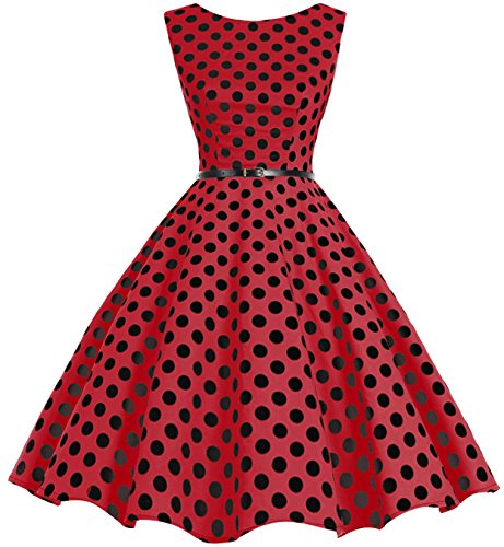 Bbonlinedress Women's Retro 1950s Vintage Swing Rockabilly Party Cocktail Dress Red Black BDot M