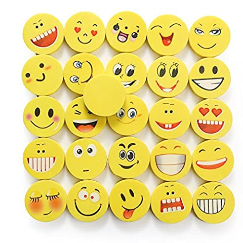 24 Pieces Emoji Erasers Set | Laughing Emoticon Eraser for Children | Birthday Gift Give Aways | Colorful Funny Rubbers | Smiley Toys for Kids