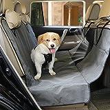 SlowTon Hund Autositzbezug autodecke schondecke, Wasserdichte Haustier-Auto-Rücksitz-Hängematte mit rutschfestem hinterem Gummiboden, Reißverschluss Schiebeklappen, Taschen und Maschen-Sichtfenster