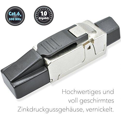 Produktbild AIXONTEC RJ45-Stecker feldkonfektionierbar Cat.6A geschirmt, RJ45 Stecker cat7 Verlegekabe AWG 23, werkzeugfreie Montage, Deutsche Montageanleitung und Montagevideo