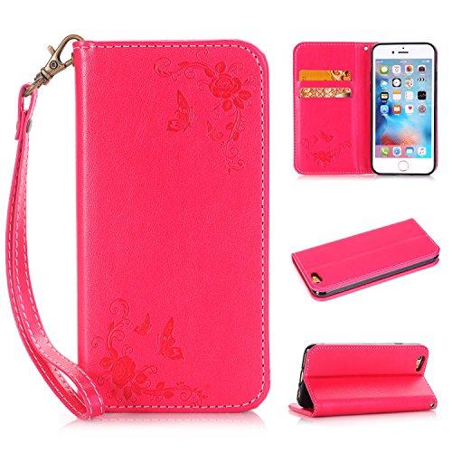 EKINHUI Case Cover Rose Blumen geprägtes Muster Premium PU Leder Geldbörse Fall, Folio Flip Stand Case Cover mit Halter & Card Slots & Magnetverschluss für iPhone 6 & 6s ( Color : Red ) Red