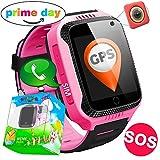 TURNMEON GPS Tracker Smartwatch Inteligente Relojes para Niños Niñas con cámara de Podómetro con Pantalla Táctil Llamadas SIM Anti-perdida SOS Regalos de Cumpleaños Compatible con Android/IOS Smartphone (Rosa)