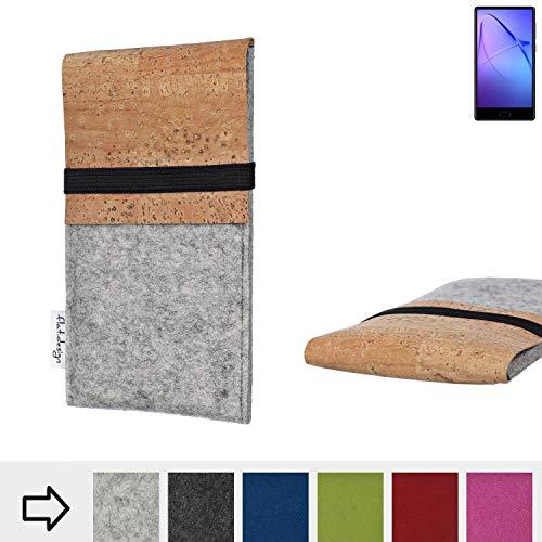 flat.design für Leagoo KIICA Mix Schutzhülle Filztasche SAGRES mit Korklasche - passgenaue Schutz Tasche Handy Case aus 100% Wollfilz (hellgrau) für Leagoo KIICA Mix