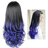 Amody Women Heat Resistant Long Curly Wavy Half Hair Wigs Gradient Color Beauty Style Blue