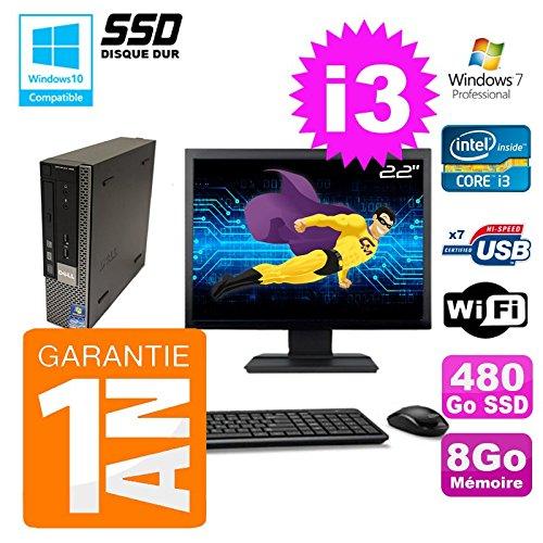 mini PC Dell 790 Ultra USFF Core I3-2100 8gb Scheibe 480Go SSD Wifi W7 Bildschirm 22