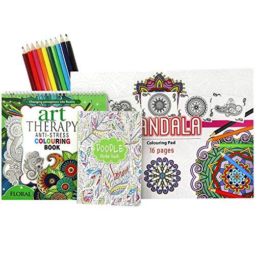 COM-FOUR® 13-teiliges Set Malbücher für Erwachsene zur Entspannung und Meditation mit 116 Designs, Doodle Notizbuch und Buntstiften (Set 6)