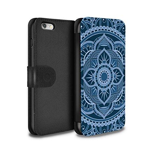 STUFF4 PU-Leder Hülle/Case/Tasche/Cover für Apple iPhone 6S / Sterne/Lila Muster / Mandala Kunst Kollektion Blumen/Blau