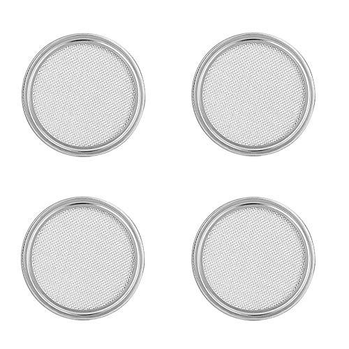 G.a HOMEFAVOR Sprossengläser Deckel, Set Bestehend aus 4 Glasdeckeln aus Edelstahl Passend für Weithals-Einmachgläser für die Herstellung von Sprösslingen Samen für Zuhause