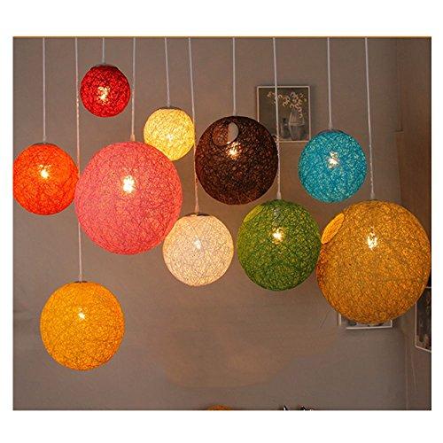 Moderne Schwarz Gitter Wicker Rattan Globus Ball Stil Decke Pendelleuchte Lampenschirm Home Esszimmer Dekoration Lampen ( 30 cm) (Blau Wicker)