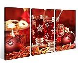 Leinwandbild 3 Tlg. Weihnachten Sylvester Party Sekt Glas Tisch Kerze rot Leinwand Bild Bilder fertig gerahmt 9O977, 3 tlg BxH:120x80cm (3Stk 40x 80cm)