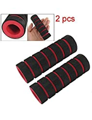 niceeshop(TM) 2 piezas Puños bicicleta Anti Slip esponja empuñadura, negro/rojo