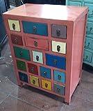 Antiker Apothekerschrank Aktenschrank Büroschrank Apotheke Schrank Sideboard Kommode Kommodenschrank Sideboardschrank mit 17 Schubladen Breite63xHöhe85cm
