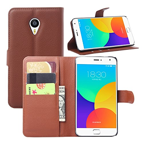 Tasche für Meizu MX4 Pro (5.5zoll) Hülle, Ycloud PU Ledertasche Flip Cover Wallet Case Handyhülle mit Stand Function Credit Card Slots Bookstyle Purse Design braun
