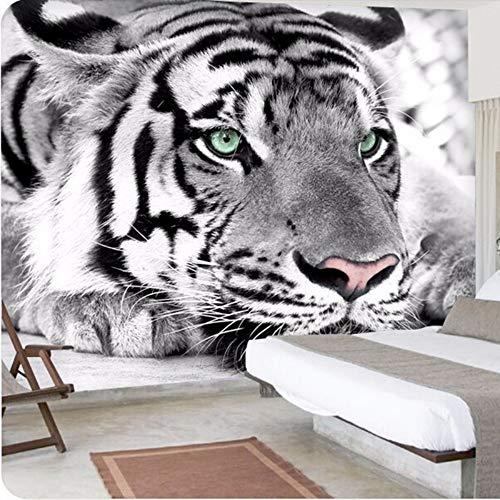Preisvergleich Produktbild YUANLINGWEI Wandbild Tapete 3D Benutzerdefinierte Foto Wandbild Tapete Tier Schwarz Und Weiß Tiger Tier Muster Wohnkultur Für Wohnzimmer Kinderzimmer Schlafzimmer Tv Hintergrund, 100Cm (H) X 200Cm (W)