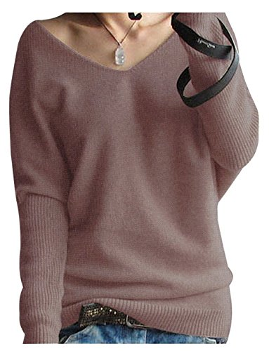 LongMing Damen Herbst und Winter Amicor arbeiten lose mit langen Ärmeln V-Ausschnitt-PulloverSexy Pullover mit V-Ausschnitt Pulli tollen Farben, Braun, Gr. M / EU Size 40-44