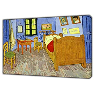 The Bedroom Oil Paint by Van Gogh Reprint ON Framed Canvas Wall Art Home Decoration Reproduction 34'' x 24''inch -18mm Depth