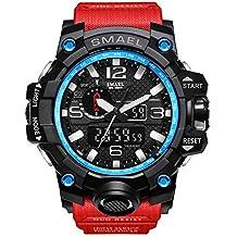 Rocita Vigilanza di sport uomini di funzione Multi casual impermeabile orologio da polso militari Masculino analogiche del quarzo del LED con la batteria (nero, blu e rosso)