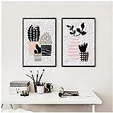 zzxywh Leinwand Malerei Nordic Abstrakte Geometrische Topfpflanzen Kunstdruck Poster Bild Wandmalerei Home Schlafzimmer Dekor 50 × 70 cm × 2 Kein Rahmen