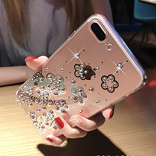 Cover iPhone 6S,Cover iPhone 6,Custodia iPhone 6S / iPhone 6 Cover,ikasus® Diamanti di cristallo lucidi Glitter Specchio di placcatura custodia per iPhone 6S / 6 Custodia Cover TPU paraurti in silicon Chiaro