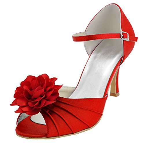Kevin Fashion , Chaussure de mariée fashion femme Rouge - Rojo - Style1-Red