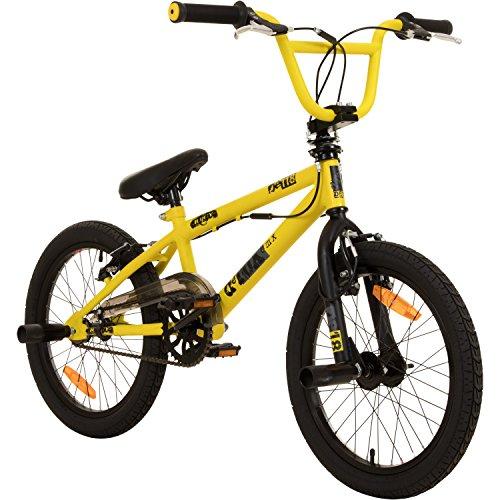 deTOX 18 Zoll BMX Juicy Rotor Pegs Freestyle Bike, Farbe:Gelb/Schwarz