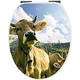 Abattant WC Vache de Gaudi–Siège de toilettes–Lunettes de WC en bois–Descente automatique Soft Close Abattant avec charnière métallique, multicolore, 40339 9