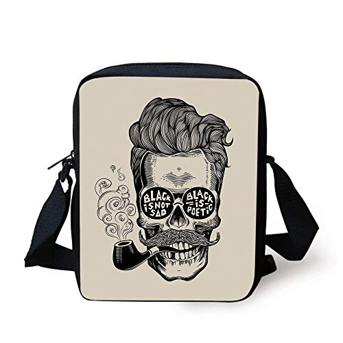 Indie,Hipster Gentleman Skull with Mustache Pipe and Eyeglasses with Inscription Vintage,Black Cream Print Kids Crossbody Messenger Bag Purse