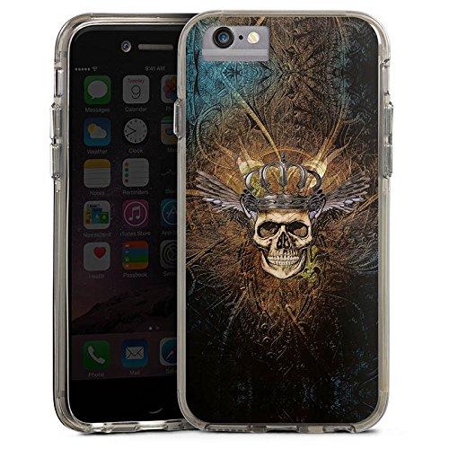 Apple iPhone X Bumper Hülle Bumper Case Glitzer Hülle Skull Koenig King Bumper Case transparent grau