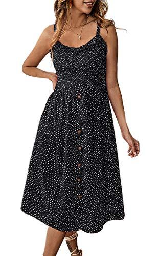 Angashion Damen Sommerkleid Swing Blumenkleid Verstellbarer Spaghettiträger Strandkleid A-line...
