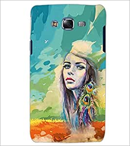 PrintDhaba PEACOCK FEATHER GIRL D-6530 Back Case Cover for SAMSUNG GALAXY J7 (Multi-Coloured)